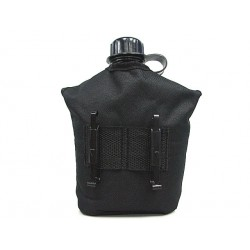 Water bottle with cup, pouch black