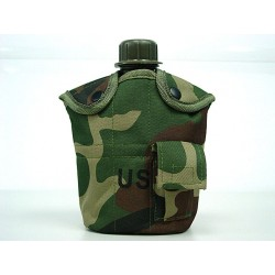 Water bottle with cup, pouch woodland