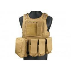 Gilet tactique FSBE compatible plaques GK - avec poches MOLLE - Coyote
