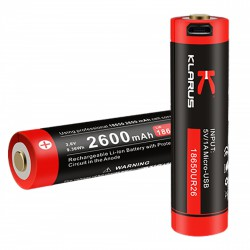 CR18650 USB2 Rechargeable - 2600 mAh
