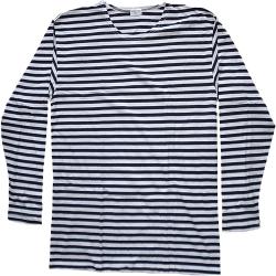 T Shirt Marinière Manches longues style russe rayée bleu foncé / blanc