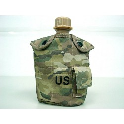 Water bottle with cup, pouch multi camo