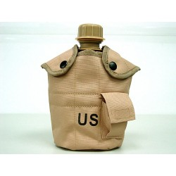 US Water Bottle with cup, pouch coyote