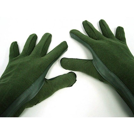 Flight style Gloves leather and cotton Olive