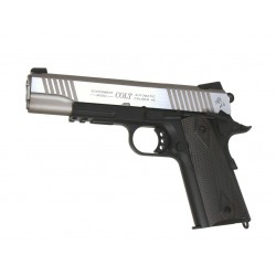 Colt 1911 Rail Gun CO2 bicolore noir 6mm culasse mobile GBB