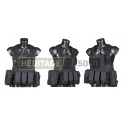 Chest Rig assault suspenders MOLLE with pouches black
