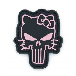 Ecusson PVC avec scratch - Punisher Kitty - Noir et rose