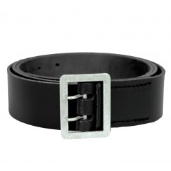 Belt Leather Black with Matt Aluminum buckle