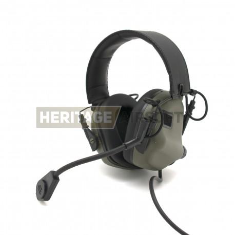 Casque De Communication M32 Vert Foliage Earmor Heritage Airsoft