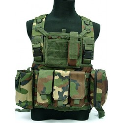 Chest Rig assault suspenders MOLLE with pouches woodland