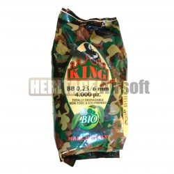 Billes 0,25g BIO de 6mm pour l'airsoft - 4000 BBs- KING