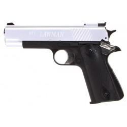 Pistolet 1911 STI Lawman Gaz culasse fixe Dual Tone Noir / Silver