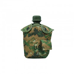 Water bottle with cup, pouch Digital woodland