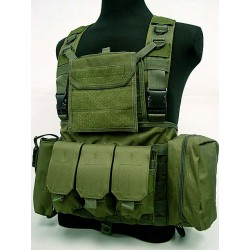 Chest Rig assault suspenders MOLLE with pouches Olive green