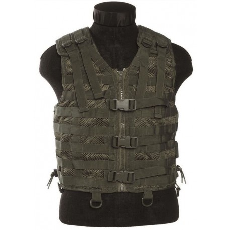 Gilet MOLLE airsoft - Maille filet - Olive