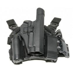 CQC - SIG P200 / 226 / 229 - Plateforme + Support ceinture + Portes lampe / chargeur - Noir