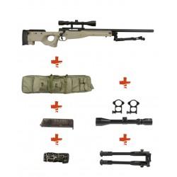 WELL - Pack Sniper MB01C WARRIOR I Tan avec lunette 3-9X40 + Bipied + Sangle + BB loader + housse