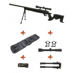 WELL - Pack Sniper MB04D Noir avec lunette 3-9X40 + bipied + sangle + housse