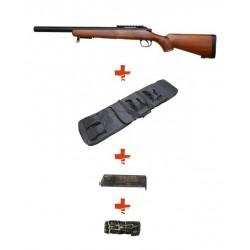 WELL - Pack Sniper MB02F Type Bois avec Housse + sangle + BB Loader