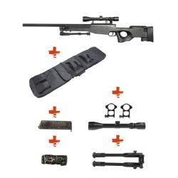 WELL - Pack Sniper MB01 WARRIOR I Noir avec Bipied + lunette 3-9X40 + Sangle + BB loader + Housse