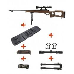 WELL - Sniper MB09D BOIS avec lunette de visée 3-9x40 + Bipied + Sangle + BB loader + Housse