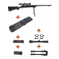 WELL - Pack Sniper MB07D Noir avec Bipied + lunette 3-9X40 + Sangle + BB loader + Housse