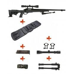 WELL - Pack Sniper MB11D Noir avec avec Bipied + lunette 3-9X40 + Sangle + BB loader + Housse