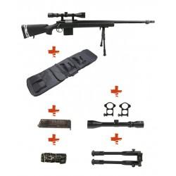 WELL - Pack Sniper MB4405D Noir avec avec Bipied + lunette 3-9X40 + Sangle + BB loader + Housse