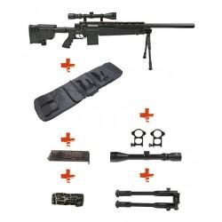 WELL - Pack Sniper MB4406D Noir avec Bipied + lunette 3-9X40 + Sangle + BB loader + Housse
