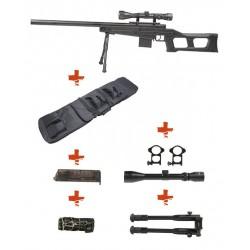 WELL - Pack Sniper MB4408D Noir avec bipied + lunette 3-9x40 + sangle + BB loader + Housse