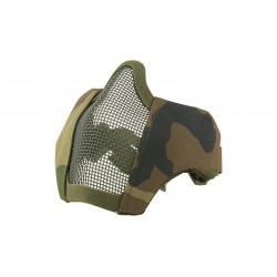ULTIMATE TACTICAL - Masque grillagé avec attache pour casque - WOODLAND