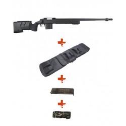WELL - Pack Sniper MB4416A Noir avec Sangle + BB loader + Housse
