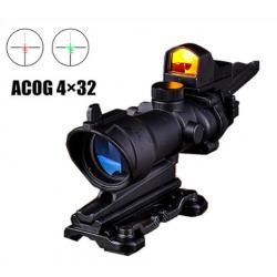 AIMO - Lunette ACOG 4x32 noir + mini point rouge/vert