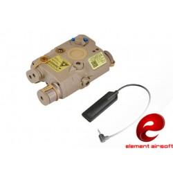 ELEMENT AIRSOFT - Boitier PEQ avec fonction lampe LED/ IR /laser rouge - TAN