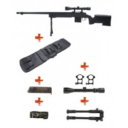 WELL - Pack Sniper MB4416D Noir avec bipied + lunette 3-9x40 + sangle + BB loader + Housse