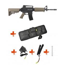 SPECNA ARMS - Pack M4 A1 RRA SA-C01 CORE tan + Batterie + Chargeur de batterie + Ressort M90 + Housse