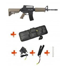 SPECNA ARMS - Pack M4 A1 SA-C01 CORE tan + Batterie + Chargeur de batterie + Ressort M90 + Housse