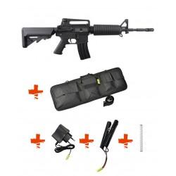 SPECNA ARMS - Pack M4 A1 RRA SA-C01 CORE noir + Batterie + Chargeur de batterie + Ressort M90 + Housse
