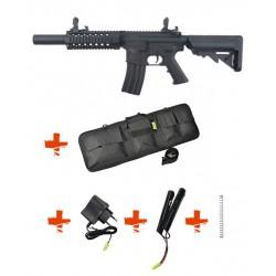 SPECNA ARMS - Pack M4 RRA SA-C11 CORE Noir + Batterie + Chargeur de batterie + Ressort M90 + Housse