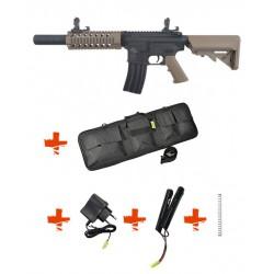 SPECNA ARMS - Pack M4 RRA SA-C11 CORE tan + Batterie + Chargeur de batterie + Ressort M90 + Housse