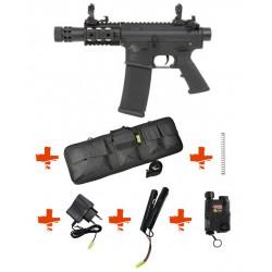 SPECNA ARMS - Pack M4 RRA SA-C18 CORE noir + Housse + Boitier PEQ + Ressort M90