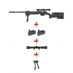SPECNA ARMS - Pack Sniper SA-S03 CORE noir avec lunette 3-9x40 + bipied+ 2 chargeurs sup