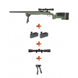 SPECNA ARMS - Pack Sniper SA-S02 CORE OD avec lunette 3-9x40 + bipied + 2 chargeurs sup