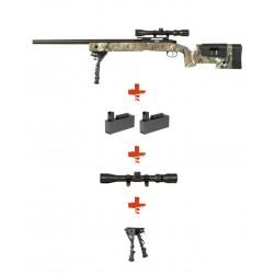 SPECNA ARMS - Pack Sniper SA-S02 CORE MULTICAM avec lunette 3-9x40 + bipied + 2 chargeurs sup