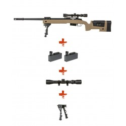 SPECNA ARMS - Pack Sniper SA-S03 CORE Tan avec lunette 3-9x40 + bipied + 2 chargeurs sup