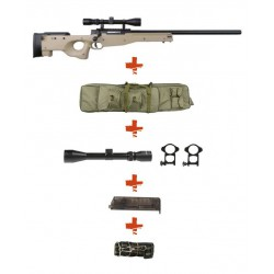 WELL - Pack Sniper MB01 WARRIOR I Tan avec lunette 3-9X40 + Sangle + BB loader + Housse