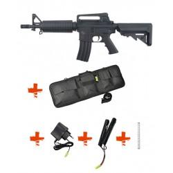 SPECNA ARMS - Pack M4 A1 RRA SA-C02 CORE noir + Batterie + Chargeur de batterie + Ressort M90 + Housse
