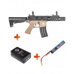 SAIGO DEFENSE - Pack M4 KENJI Court TAN + batterie lipo 7,4V + chargeur de batterie