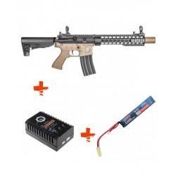 SAIGO DEFENSE - Pack M4 KENJI long TAN + batterie lipo 7,4V + chargeur de batterie
