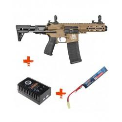 SAIGO DEFENSE - Pack M4 RONIN TAN + Batterie lipo 7,4V + chargeur de batterie